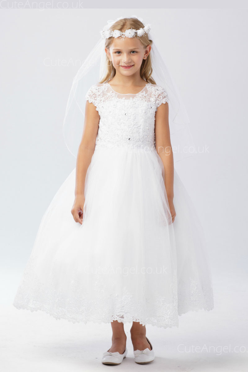 Girls Dress Style 060318 White Tea-length Lace Bateau A-line Dress in Choice of Colour