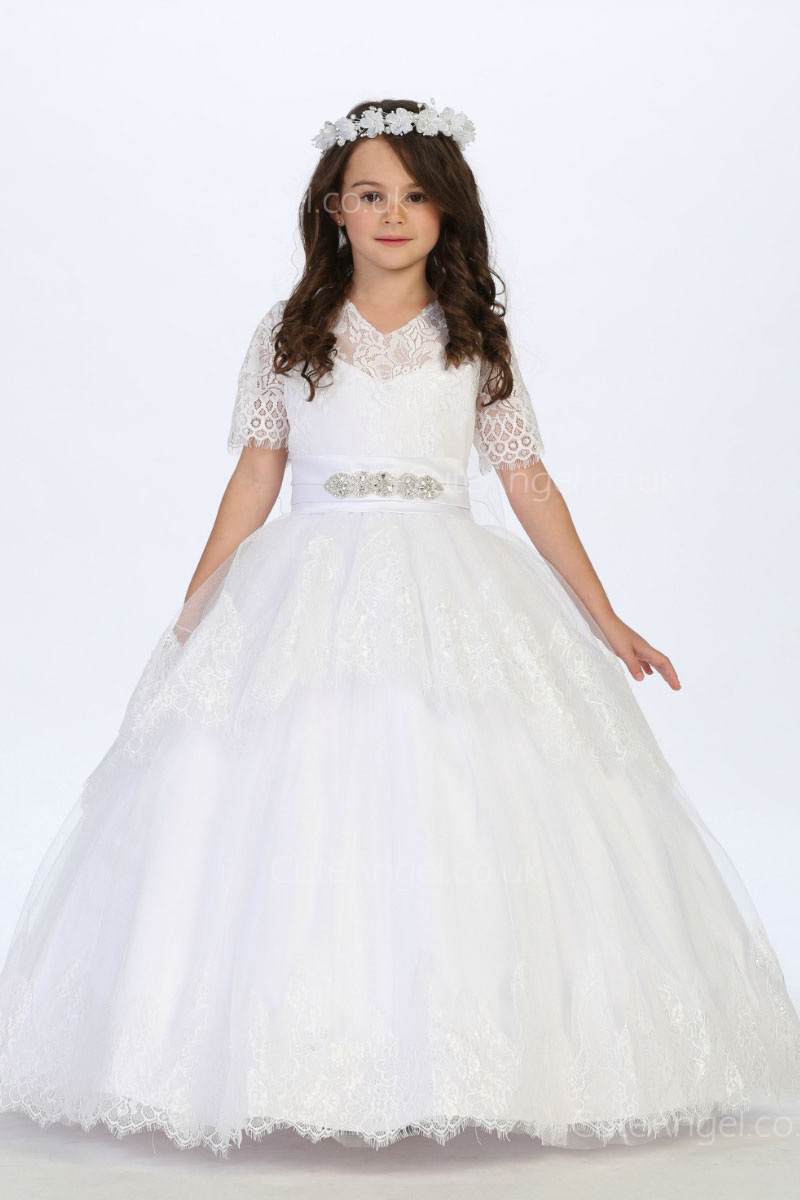 Girls Dress Style 060518 White Floor-length Lace , Bowknot V-neck A-line Dress in Choice of Colour