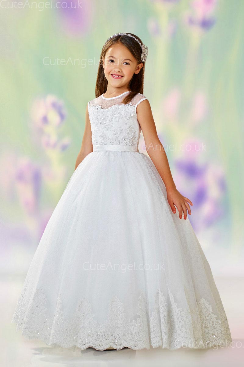 Girls Dress Style 0611918 Ivory Floor-length Lace , Beading , Applique Round Ball Gown Dress in Choice of Colour