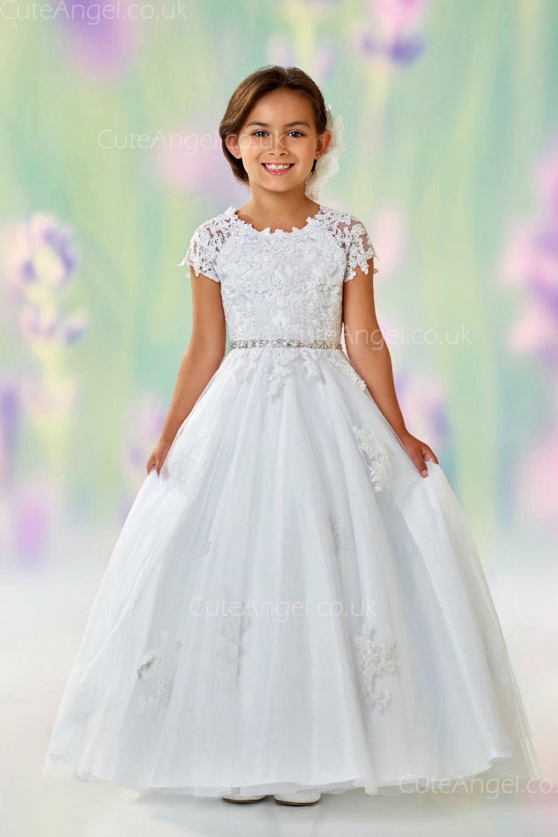 Girls Dress Style 0612518 Ivory Floor-length Lace , Beading , Applique Round A-line Dress in Choice of Colour