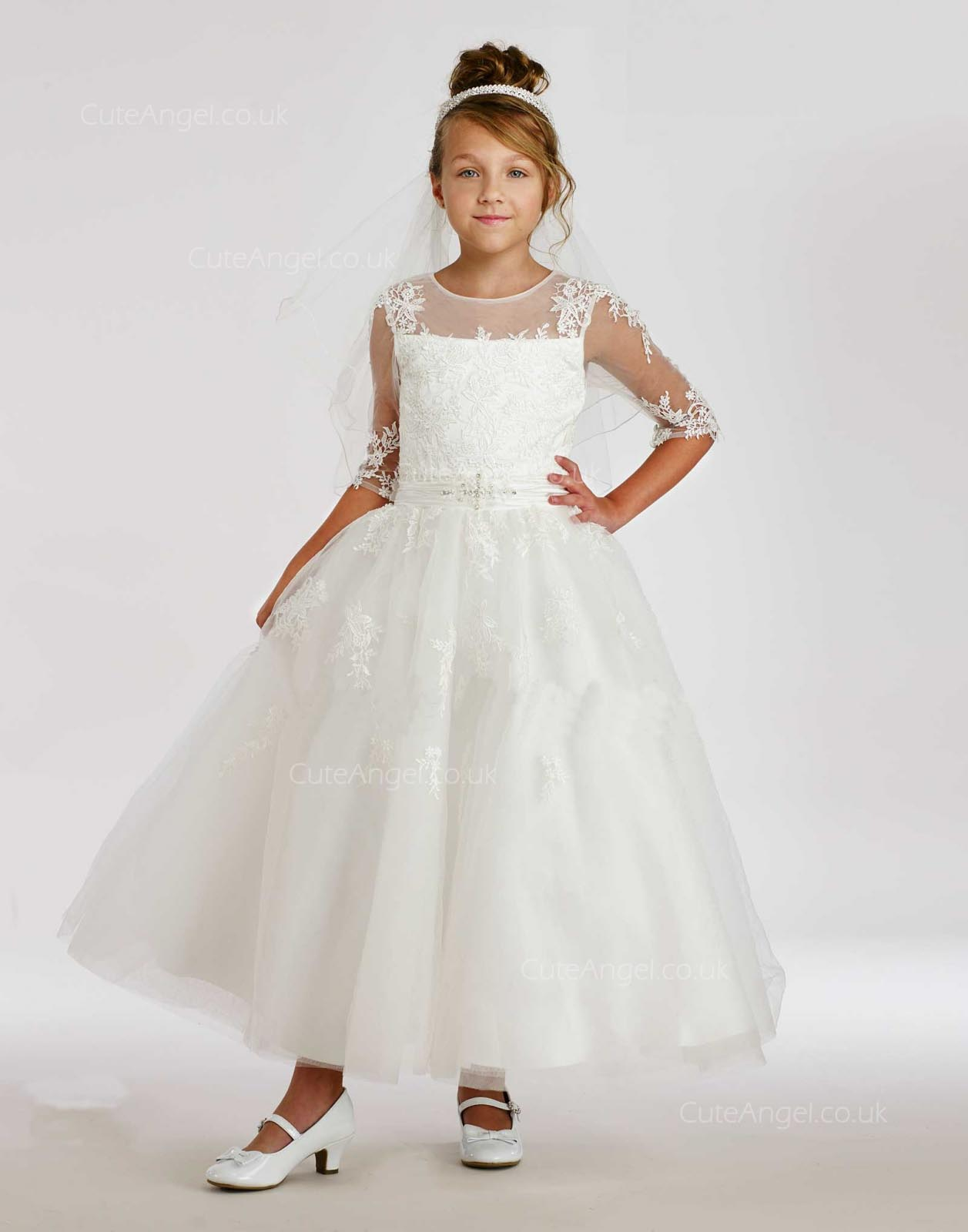Girls Dress Style 0615318 Ivory Ankle Length Lace Round A-line Dress in Choice of Colour