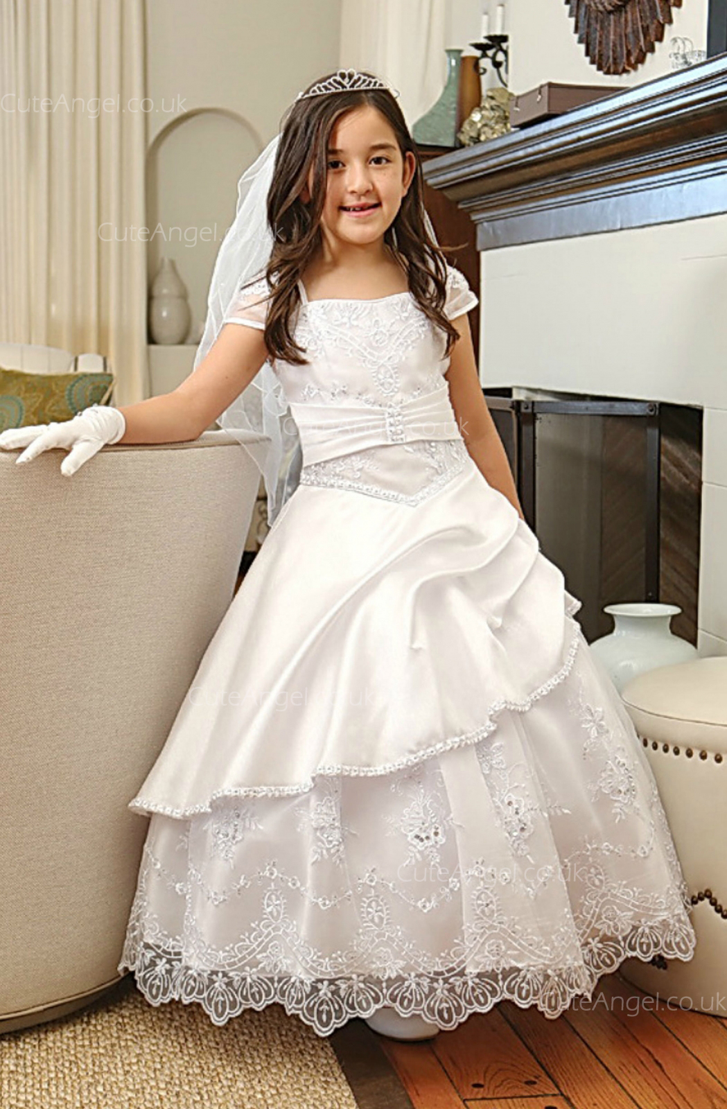 Girls Dress Style 061818 Ivory Floor-length Lace , Beading Bateau A-line Dress in Choice of Colour