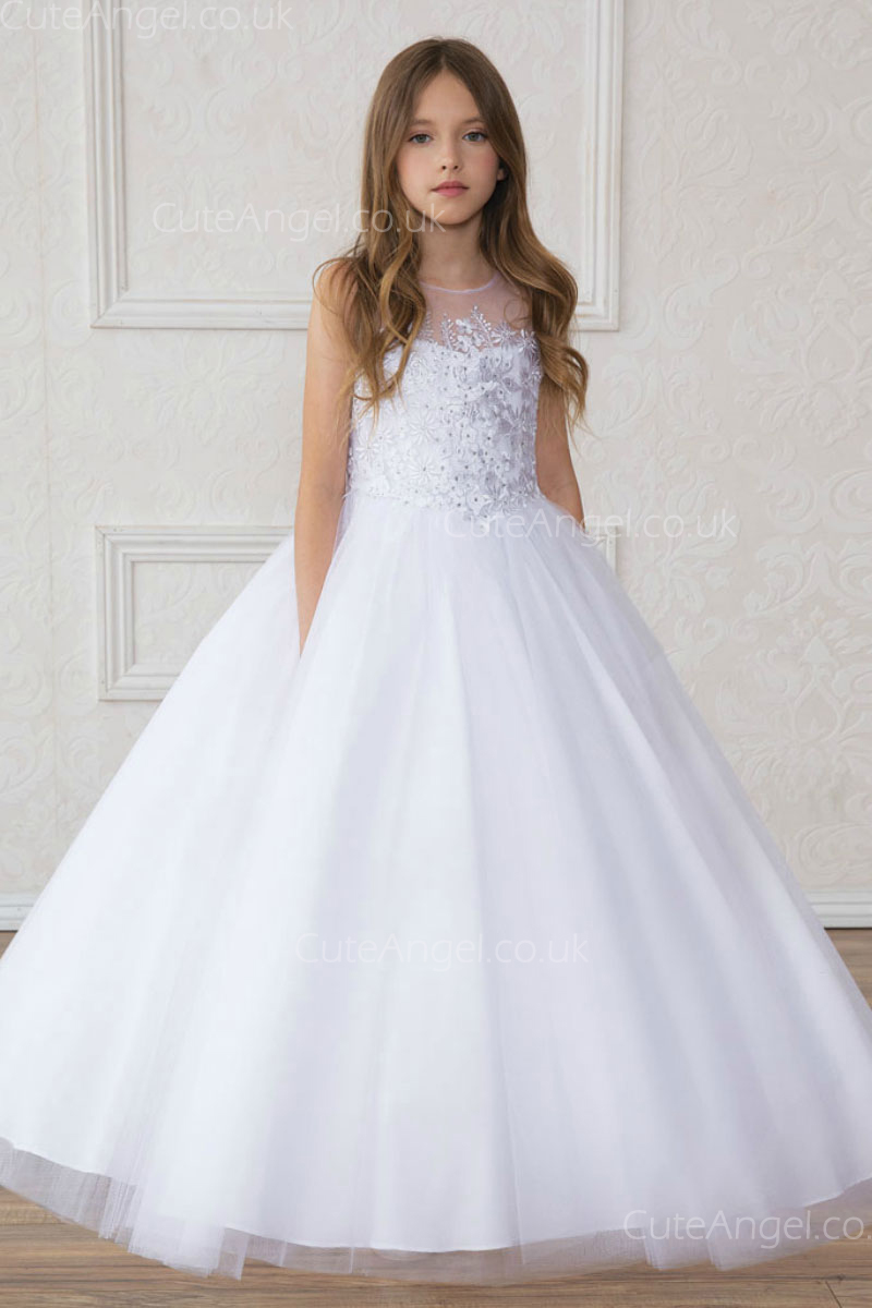 Girls Dress Style 0621518 Ivory Floor-length Applique Sweetheart A-line Dress in Choice of Colour