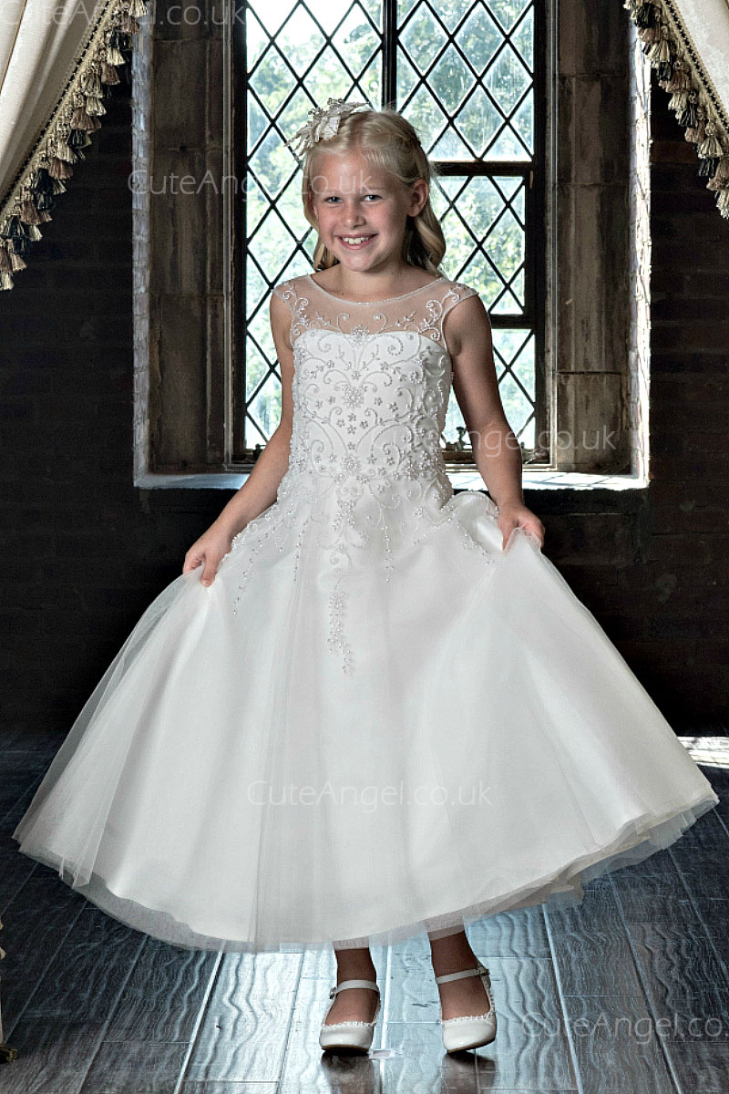 Girls Dress Style 0622918 Ivory Ankle Length Applique Bateau A-line Dress in Choice of Colour
