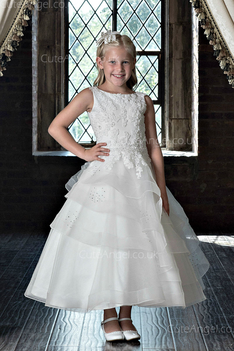 Girls Dress Style 0623118 Ivory Ankle Length Lace , Beading , Tiered Bateau A-line Dress in Choice of Colour