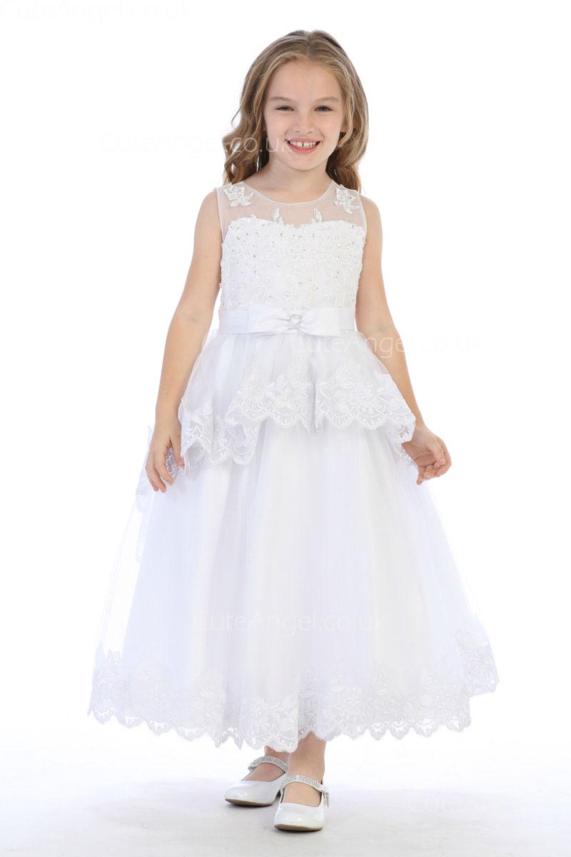 Girls Dress Style 0628618 Ivory Ankle Length Lace Round A-line Dress in Choice of Colour