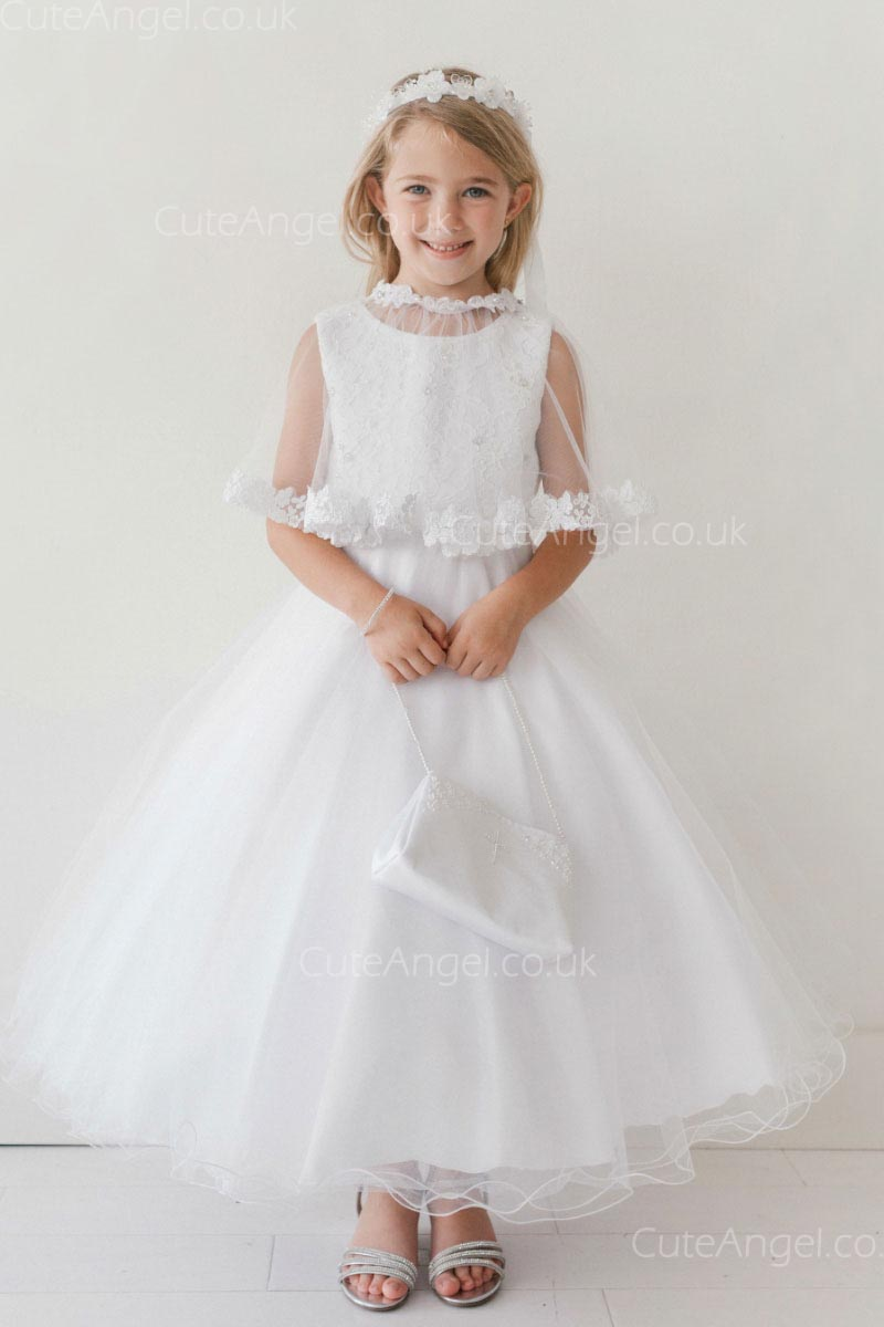 Girls Dress Style 063018 Ivory Ankle Length Lace Bateau A-line Dress in Choice of Colour