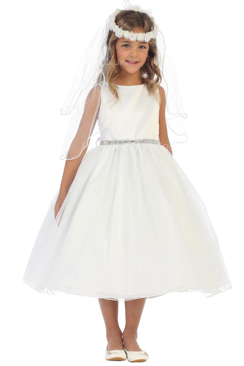 Girls Dress Style 065518 Ivory Tea-length Crystal Bateau A-line Dress in Choice of Colour