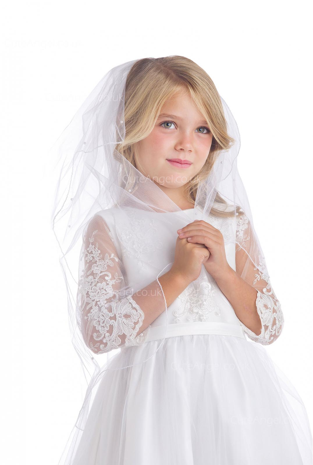 Girls Dress Style 066818 White Floor-length Lace Round A-line Dress in Choice of Colour