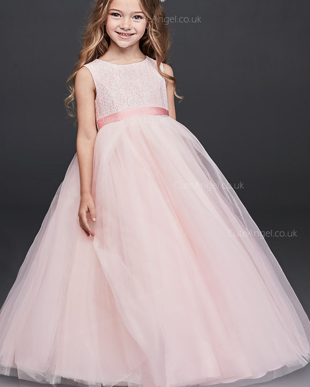 Pink Ball Gown Flower Girl Dress with Heart Cutout
