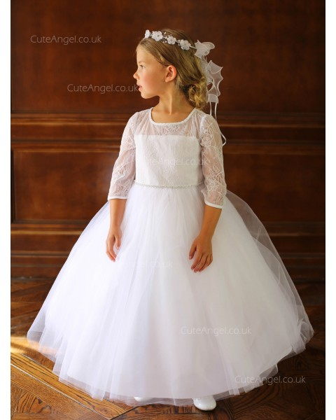 Girls Dress Style 060918 White Floor-length Beading Bateau A-line Dress in Choice of Colour