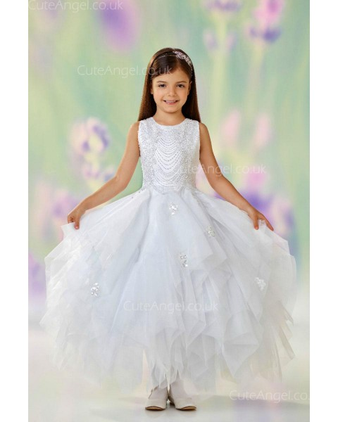 Girls Dress Style 0610518 Ivory Floor-length Beading Bateau A-line Dress in Choice of Colour