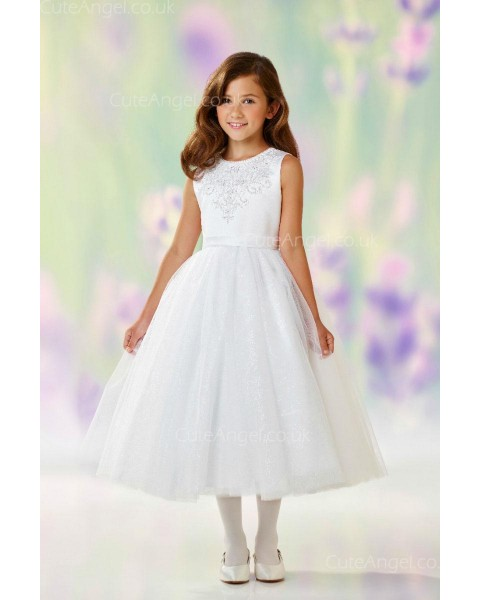 Girls Dress Style 0610718 Ivory Tea-length Applique Round A-line Dress in Choice of Colour
