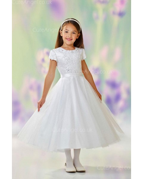 Girls Dress Style 0611318 Ivory Tea-length Lace , Beading , Applique Round A-line Dress in Choice of Colour