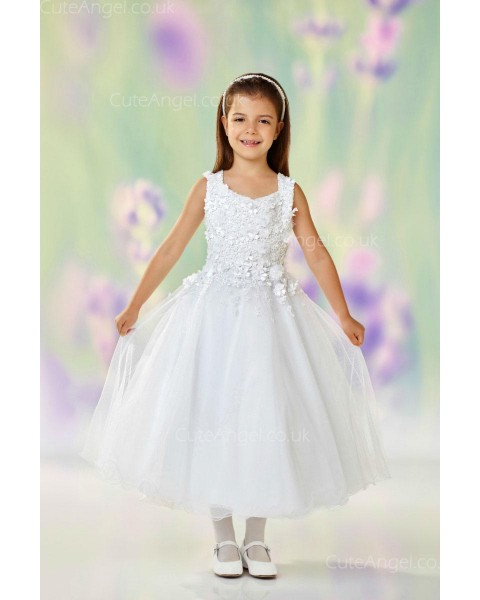 Girls Dress Style 0612018 Ivory Tea-length Hand Made Flower V-neck A-line Dress in Choice of Colour