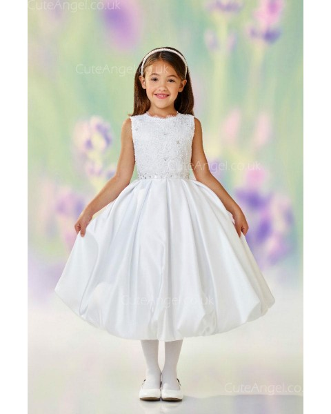 Girls Dress Style 0612318 Ivory Tea-length Beading Round A-line Dress in Choice of Colour