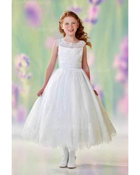 Girls Dress Style 0612618 Ivory Tea-length Lace Bateau A-line Dress in Choice of Colour