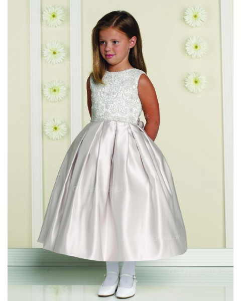 Girls Dress Style 0613318 Ivory Tea-length Lace Bateau A-line Dress in Choice of Colour