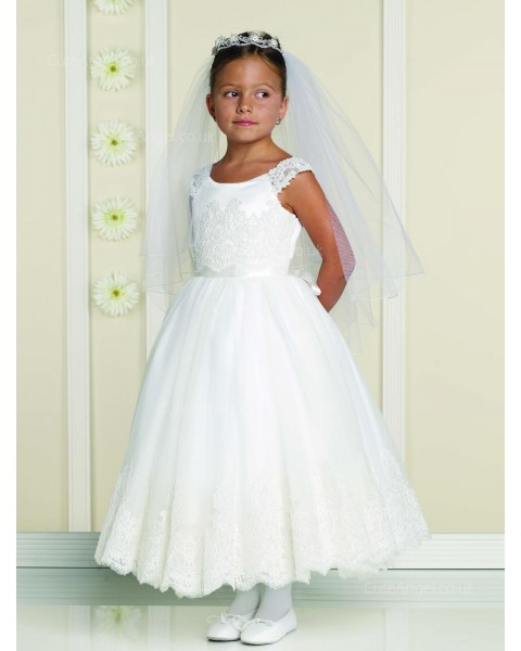 Girls Dress Style 0613418 Ivory Ankle Length Lace Bateau A-line Dress in Choice of Colour