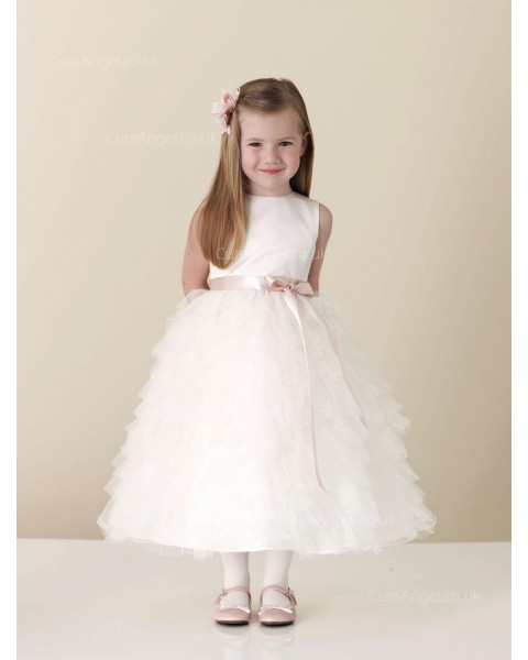 Girls Dress Style 0613518 Blushing Pink Ankle Length Tiered Bateau A-line Dress in Choice of Colour
