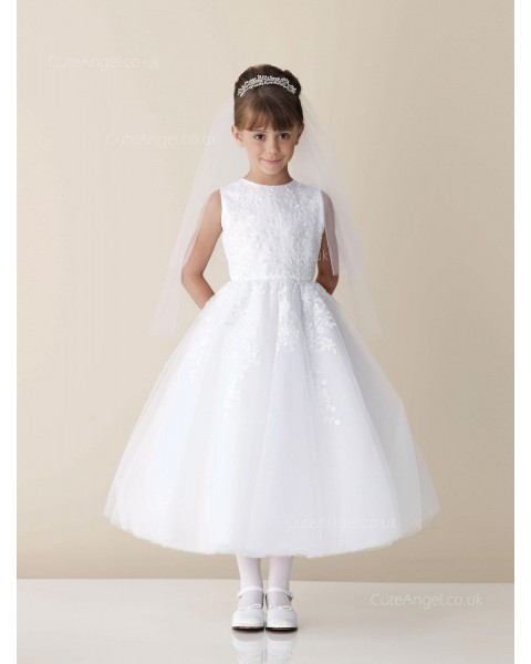 Girls Dress Style 0613618 Ivory Tea-length Lace Round A-line Dress in Choice of Colour