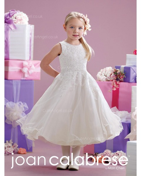 Girls Dress Style 0613918 Ivory Tea-length Lace Round A-line Dress in Choice of Colour