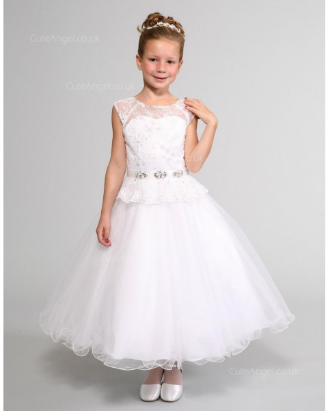 Girls Dress Style 0614318 White Ankle Length Lace , Beading Bateau A-line Dress in Choice of Colour