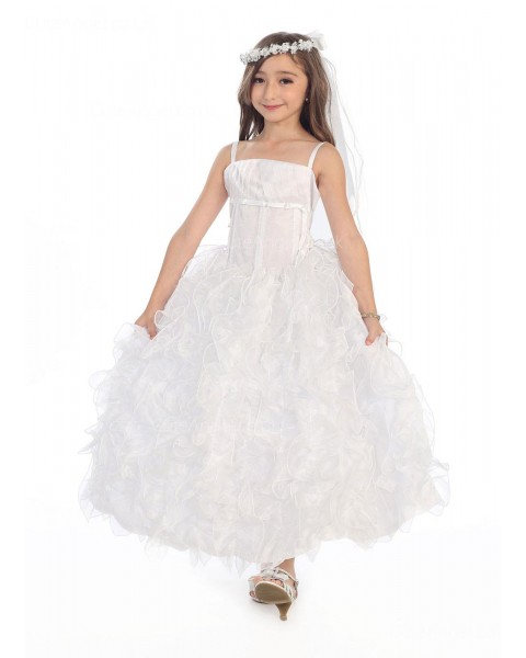 Girls Dress Style 0616418 Ivory Floor-length Crystal - 水晶 Square Ball Gown Dress in Choice of Colour