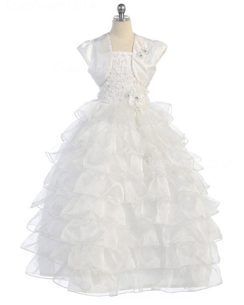Girls Dress Style 0616518 Ivory Floor-length hand Made Flower Square Ball Gown Dress in Choice of Colour