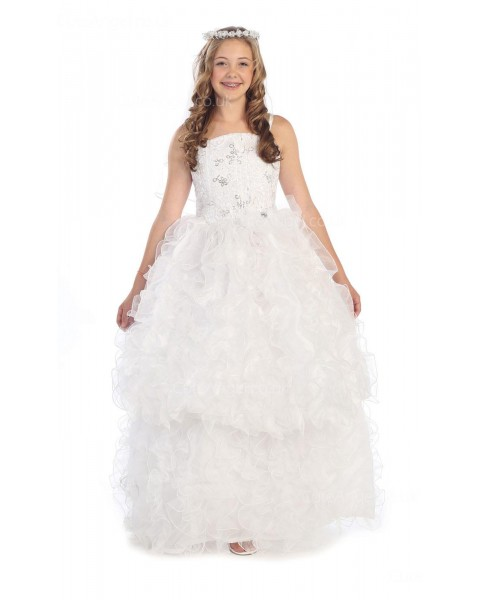 Girls Dress Style 0616718 White Floor-length Layers Bateau A-line Dress in Choice of Colour