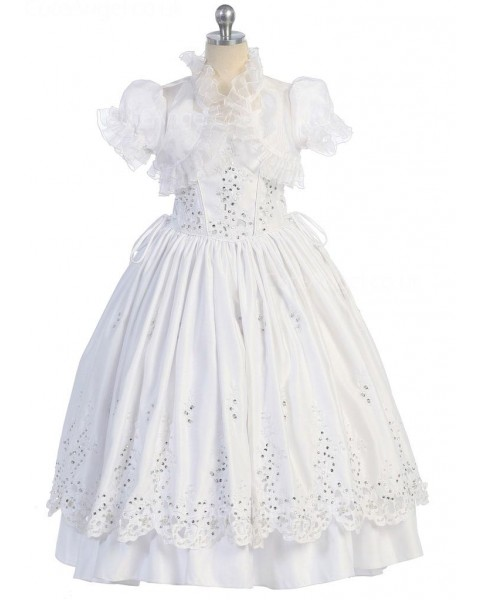 Girls Dress Style 0616818 Ivory Floor-length Lace , Beading V-neck A-line Dress in Choice of Colour