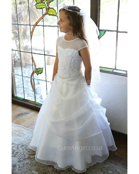 Girls Dress Style 061718 Ivory Floor-length Beading Bateau A-line Dress in Choice of Colour
