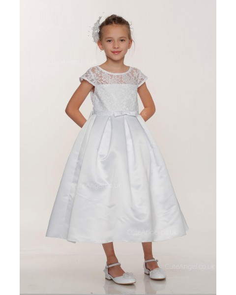 Girls Dress Style 0617618 Ivory Tea-length Lace , Bowknot Round A-line Dress in Choice of Colour