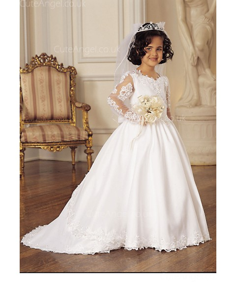 Girls Dress Style 0618218 Ivory Sweep Lace V-neck A-line Dress in Choice of Colour