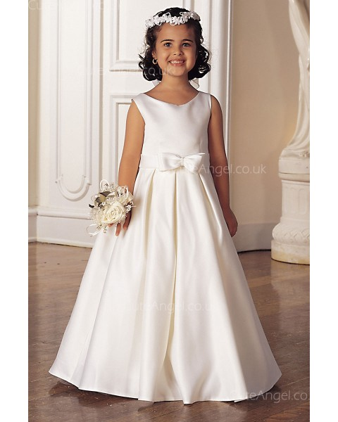 Girls Dress Style 0618318 Ivory Floor-length Bowknot Bateau A-line Dress in Choice of Colour