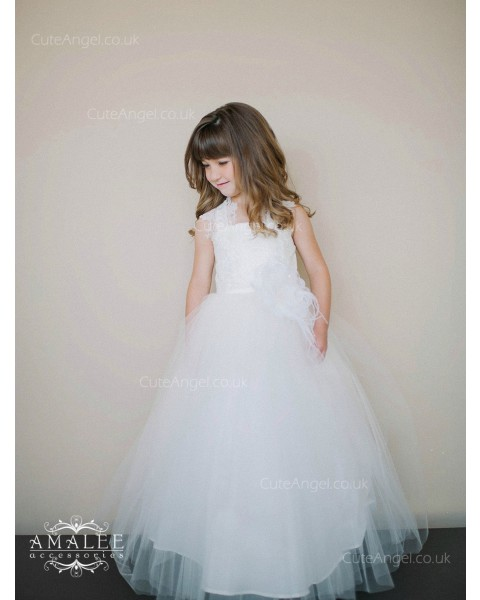 Girls Dress Style 0618818 White Floor-length Hand Made Flower Square A-line Dress in Choice of Colour