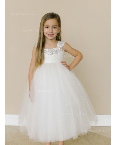 Girls Dress Style 0619118 Ivory Tea-length Beading Bateau A-line Dress in Choice of Colour