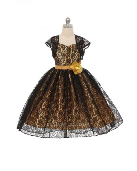 Girls Dress Style 0619518  Tea-length Hand Made Flower V-neck A-line Dress in Choice of Colour