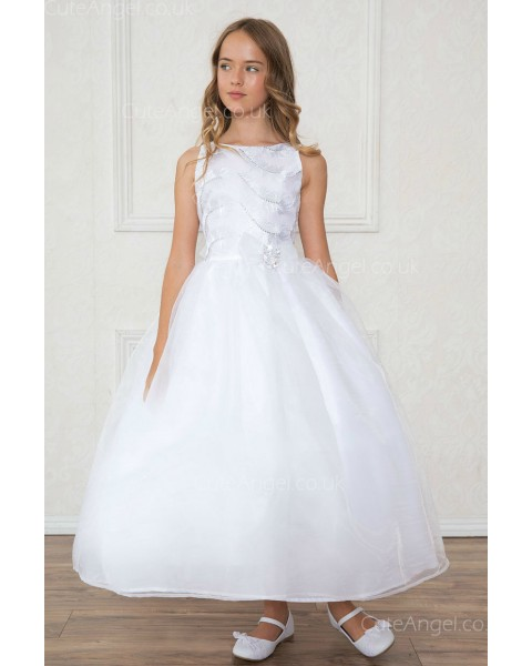 Girls Dress Style 0619718 White Ankle Length Beading Bateau A-line Dress in Choice of Colour