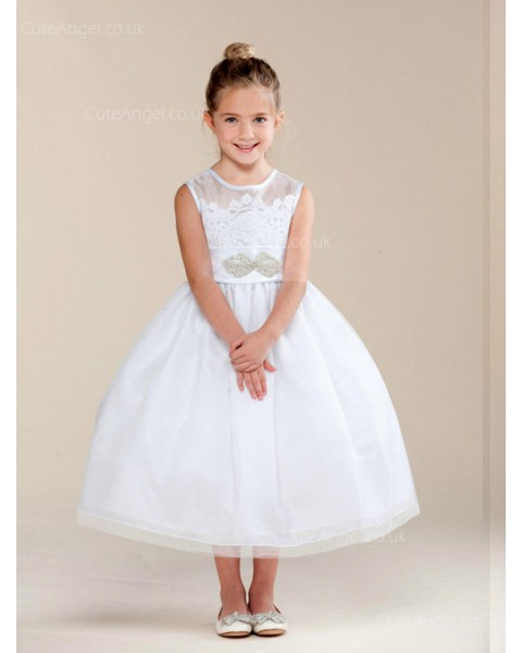 Girls Dress Style 0620118 Ivory Tea-length Beading Bateau A-line Dress in Choice of Colour