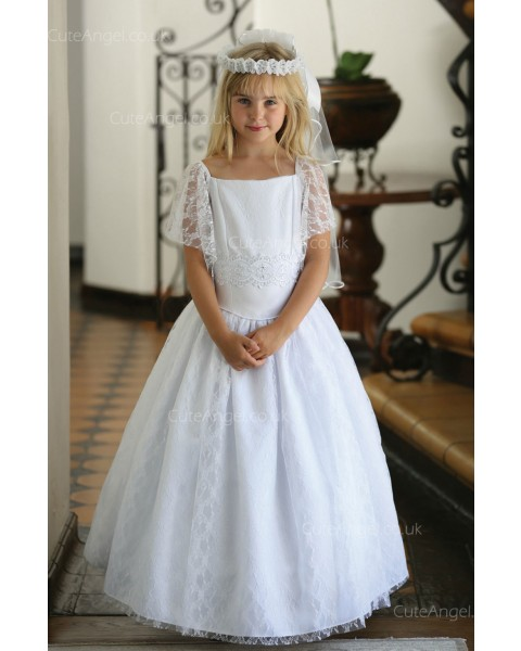 Girls Dress Style 062018 Ivory Floor-length Lace Bateau A-line Dress in Choice of Colour