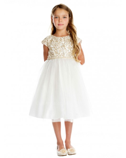 Girls Dress Style 0620818 Ivory Knee-Length Embroidery刺绣 Bateau A-line Dress in Choice of Colour