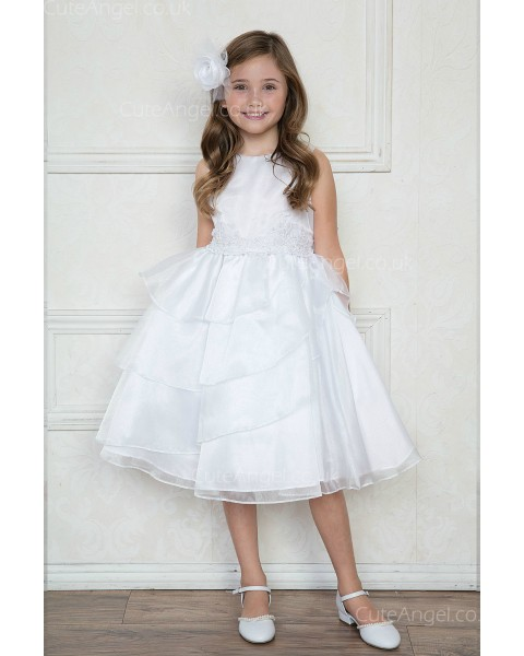 Girls Dress Style 0621118 Ivory Knee-Length Tiered , Lace Bateau A-line Dress in Choice of Colour