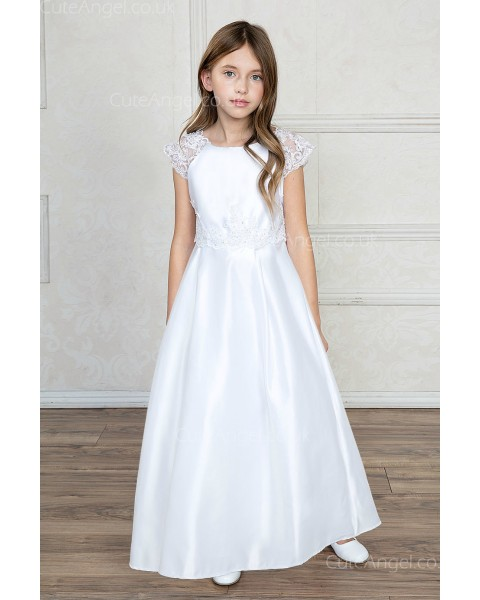 Girls Dress Style 0621218 Ivory Floor-length Bowknot , Lace Bateau A-line Dress in Choice of Colour