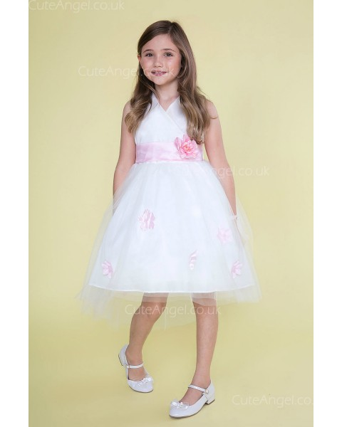 Girls Dress Style 0621418 White Knee-Length Bowknot , Hand Made Flower V-neck A-line Dress in Choice of Colour