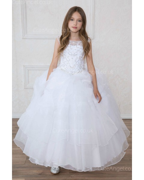 Girls Dress Style 0621718 Ivory Floor-length Beading Bateau Ball Gown Dress in Choice of Colour