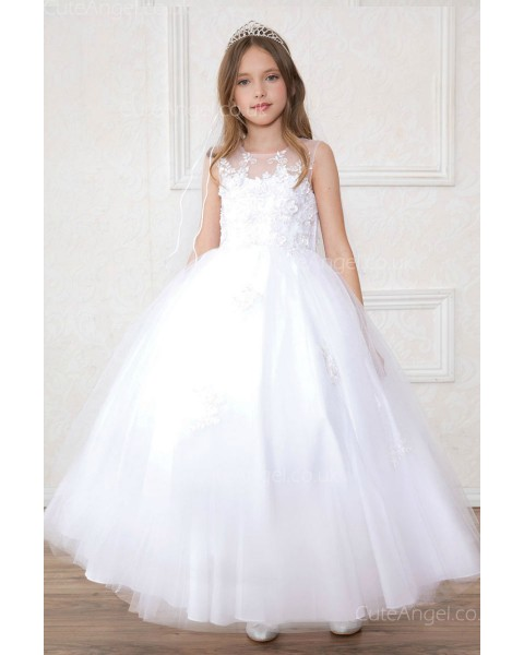 Girls Dress Style 0621818 White Floor-length Hand Made Flower Bateau Ball Gown Dress in Choice of Colour