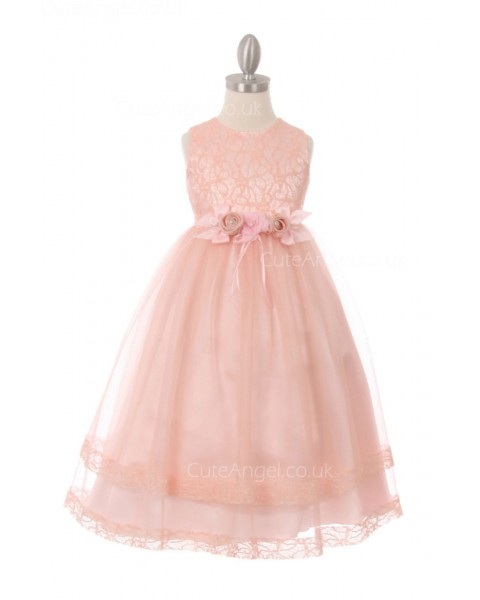Girls Dress Style 0621918  Ankle Length Hand Made Flower Round A-line Dress in Choice of Colour