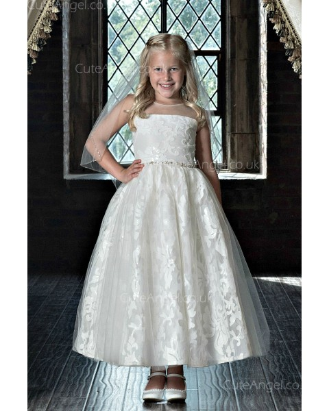 Girls Dress Style 0622218 Ivory Ankle Length Beading Bateau A-line Dress in Choice of Colour