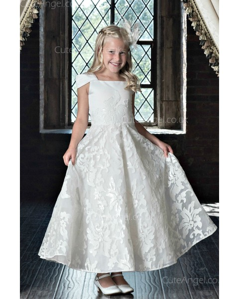 Girls Dress Style 0622318 Ivory Ankle Length Applique Bateau A-line Dress in Choice of Colour